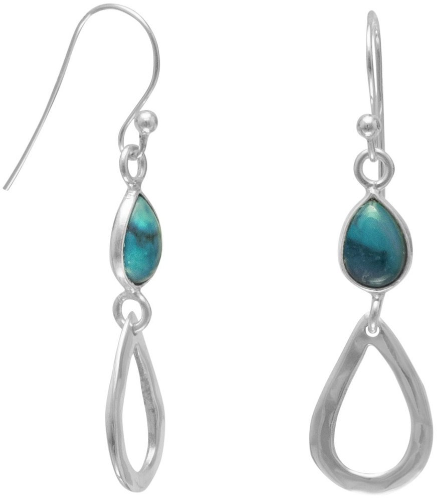 Turquoise Drop French Wire Earrings 925 Sterling Silver