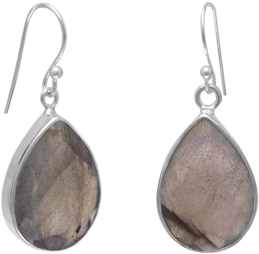 Faceted Labradorite French Wire Earrings 925 Sterling Silver