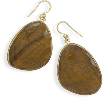 14 Karat Gold Plated Freeform Tiger's Eye Earrings 925 Sterling Silver
