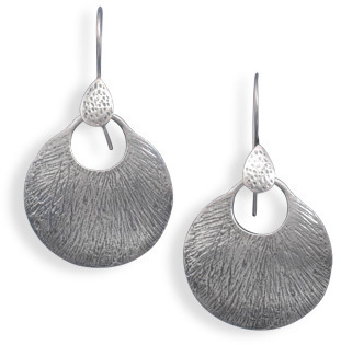 Oxidized Textured Drop Earrings 925 Sterling Silver