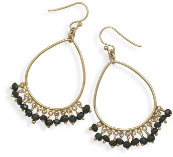 14 Karat Gold Plated Earrings with Black Onyx 925 Sterling Silver