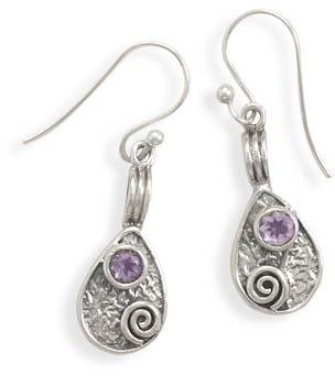 Pear Drop Earrings with Amethyst 925 Sterling Silver