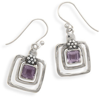 Cut Out Square Amethyst Earrings 925 Sterling Silver