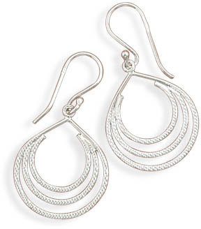 Rhodium Plated Textured Pear Shape Earrings 925 Sterling Silver - DISCONTINUED