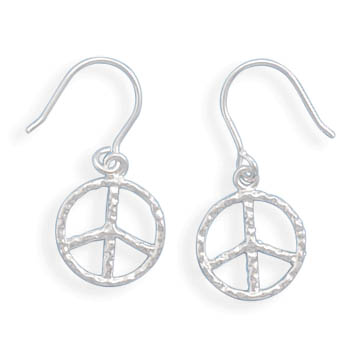 Peace Sign French Wire Earrings 925 Sterling Silver - DISCONTINUED
