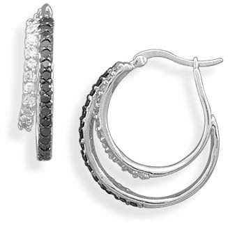 Rhodium Plated Black and White CZ Hoop Earrings 925 Sterling Silver - DISCONTINUED