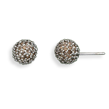 Rhodium Plated Chocolate CZ Stud Earrings 925 Sterling Silver - DISCONTINUED