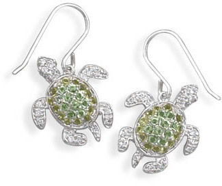 Rhodium Plated CZ Turtle Earrings 925 Sterling Silver - DISCONTINUED