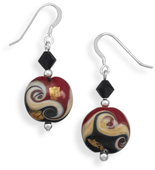 Lampwork Glass Bead French Wire Earrings 925 Sterling Silver