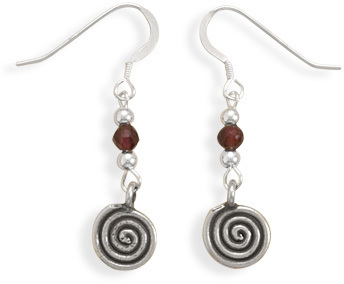 Coil Design Drop French Wire Earrings 925 Sterling Silver