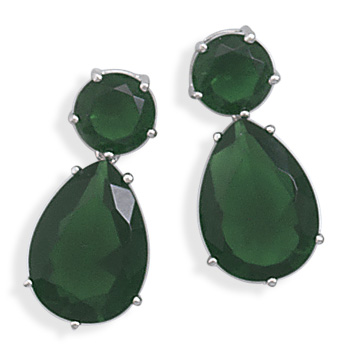 Rhodium Plated Green Glass Earrings  - DISCONTINUED 925 Sterling Silver