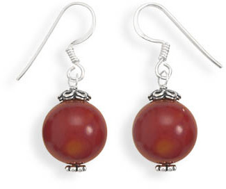 Red Coral Bead Earrings 925 Sterling Silver