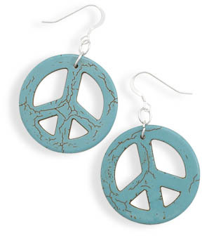 Howlite Peace Sign Earrings 925 Sterling Silver - DISCONTINUED