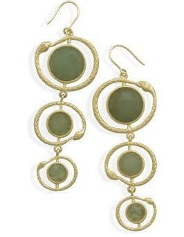 Gold Plated Aventurine Snake Design Earrings 925 Sterling Silver