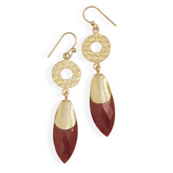 14 Karat Gold Plated Sterling Silver Ruby Drop Earrings - DISCONTINUED