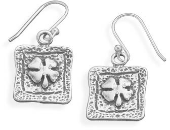 Oxidized Four Leaf Clover Earrings 925 Sterling Silver - DISCONTINUED