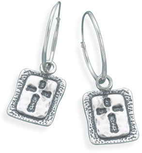 Oxidized Cross Hoop Earrings 925 Sterling Silver