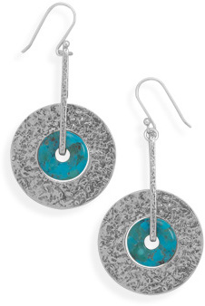 Oxidized Hammered Drop Earrings with Turquoise 925 Sterling Silver - DISCONTINUED