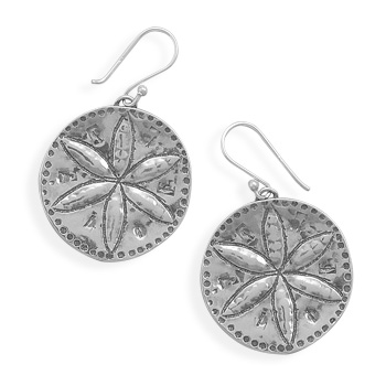 Oxidized Sand Dollar Earrings 925 Sterling Silver - DISCONTINUED