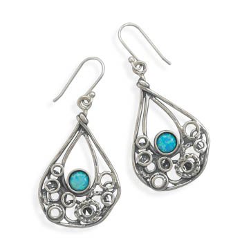 Oxidized Abstract Drop Earrings with Synthetic Opal 925 Sterling Silver - DISCONTINUED