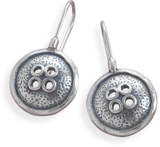 Oxidized Button Design Earrings 925 Sterling Silver