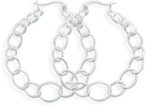 Oval Link Design Hoop Earrings 925 Sterling Silver
