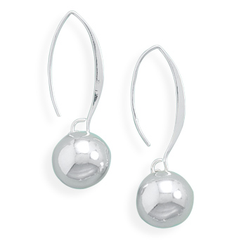 Wire Earrings with Bead Drop 925 Sterling Silver - DISCONTINUED