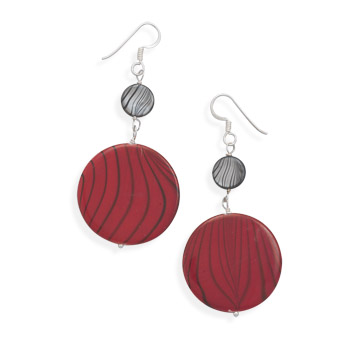 Red and Grey Shell Earrings 925 Sterling Silver - DISCONTINUED