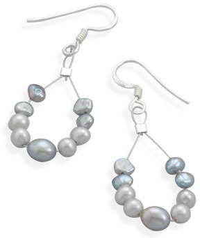 Silver and Grey Cultured Freshwater Pearl Earrings 925 Sterling Silver