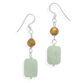 Serpentine and Glass Bead Earrings 925 Sterling Silver - DISCONTINUED