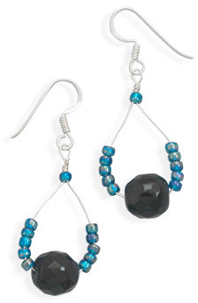 Blue and Black Glass Bead Drop Earrings 925 Sterling Silver - DISCONTINUED