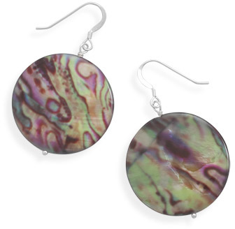 Multicolor Shell Disk Earrings 925 Sterling Silver - DISCONTINUED