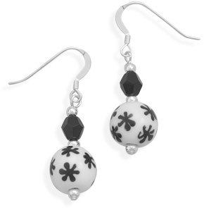 Lampwork Bead and Czech Crystal Earrings 925 Sterling Silver