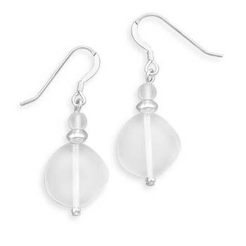 Matte Crystal Earrings 925 Sterling Silver - DISCONTINUED