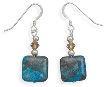 Blue Agate and Crystal Earrings 925 Sterling Silver