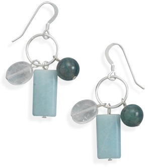 Multistone Drop French Wire Earrings 925 Sterling Silver