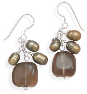 Smoky Quartz and Cultured Freshwater Pearl Earrings 925 Sterling Silver