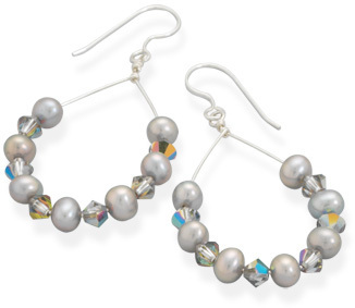 Cultured Freshwater Pearl and AB Crystal Earrings 925 Sterling Silver
