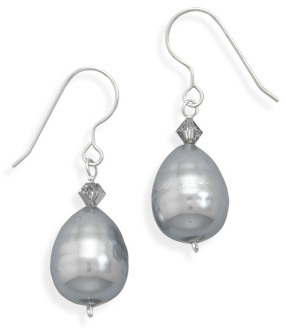 Crystal and Shell Base Pearl Earrings 925 Sterling Silver