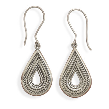 Pear Drop Rope Design Earrings 925 Sterling Silver - DISCONTINUED
