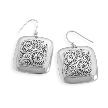 Oxidized Ornate Drop Earrings 925 Sterling Silver- DISCONTINUED
