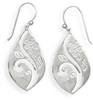 Floral Design French Wire Earrings 925 Sterling Silver