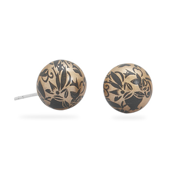 Gold Color with Black Design Stud Earrings 925 Sterling Silver - DISCONTINUED