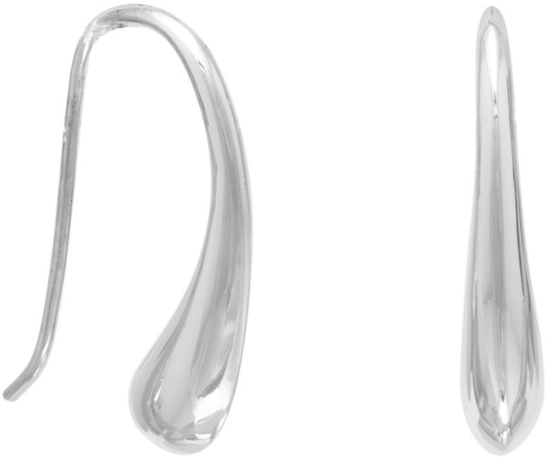 Curved Pear Shape Wire Earrings 925 Sterling Silver