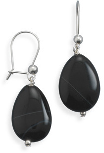 Banded Black Onyx Earrings 925 Sterling Silver