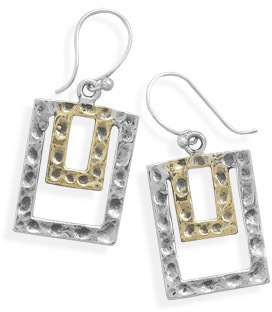 Two Tone Rectangle French Wire Earrings 925 Sterling Silver - DISCONTINUED