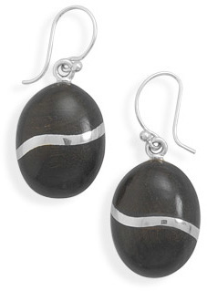 Oval Wood Earrings 925 Sterling Silver