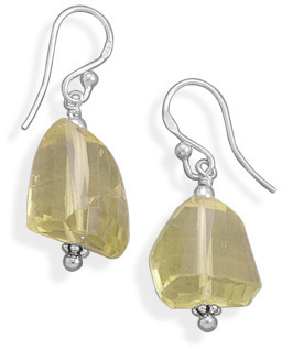 Chunky Lemon Quartz Earrings 925 Sterling Silver