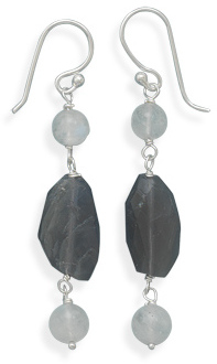 Iolite and Rainbow Moonstone Earrings 925 Sterling Silver