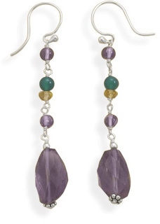 Multistone Bead Drop Earrings 925 Sterling Silver